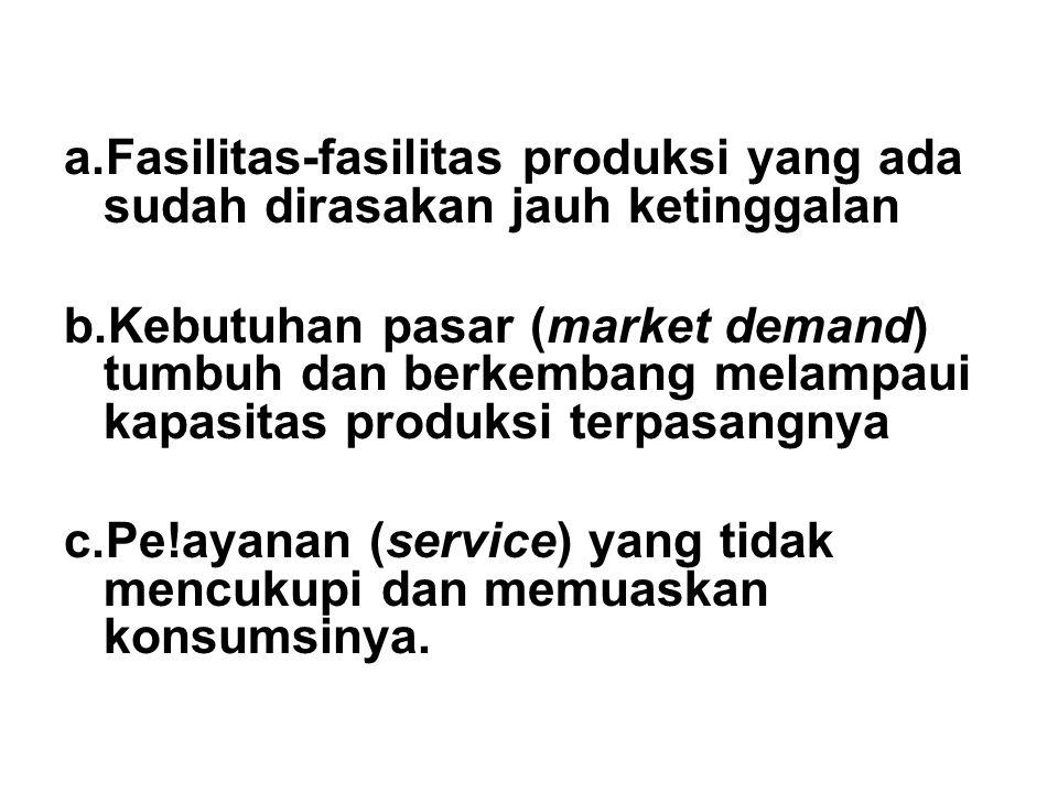 a.Fasilitas-fasilitas produksi yang ada sudah dirasakan jauh ketinggalan b.Kebutuhan pasar (market demand) tumbuh dan berkembang melampaui kapasitas p