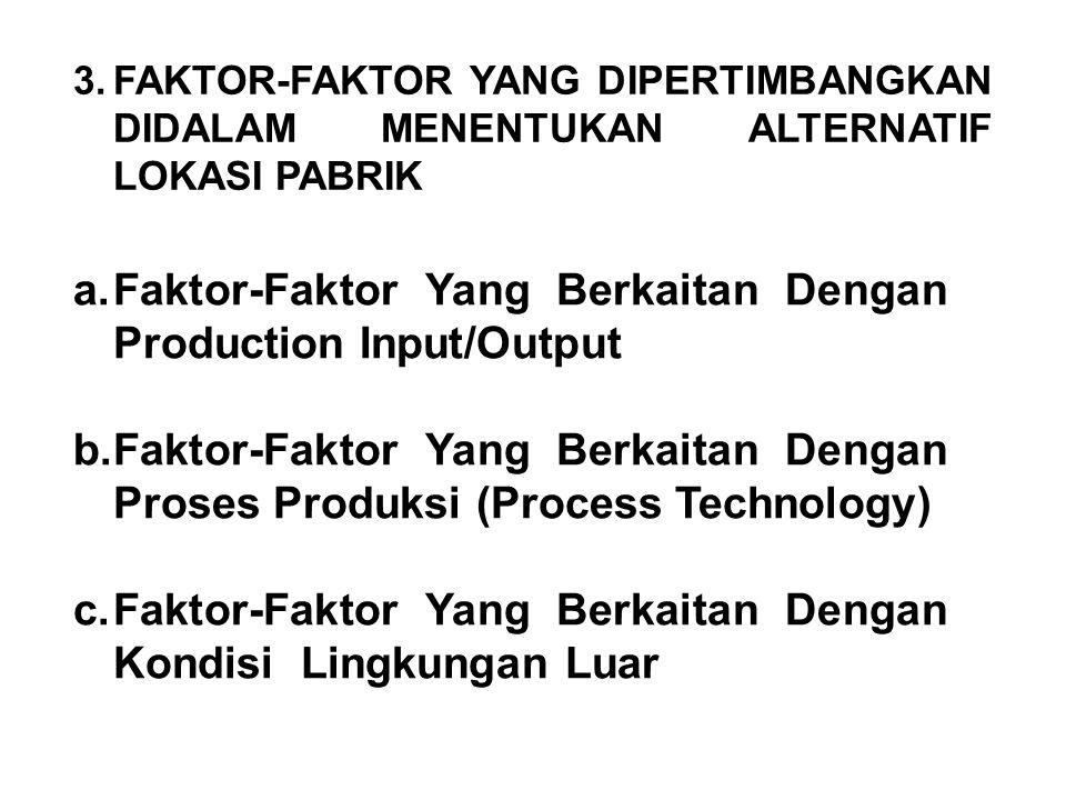 3.FAKTOR-FAKTOR YANG DIPERTIMBANGKAN DIDALAM MENENTUKAN ALTERNATIF LOKASI PABRIK a.Faktor-Faktor Yang Berkaitan Dengan Production Input/Output b.Fakto