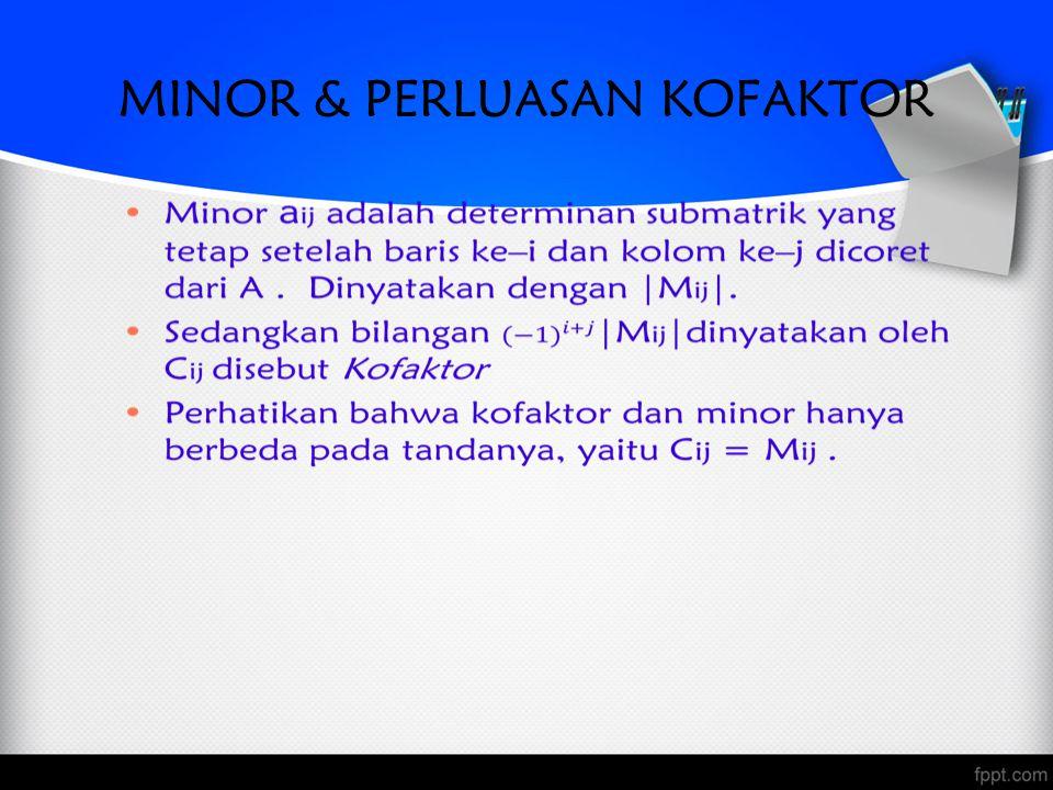 Contoh1 A = –minor entri a 12 adalah M 12 –kofaktor a 11 adalah C 11 –minor entri a 13 adalah M 13 –kofaktor a 13 adalah C 13