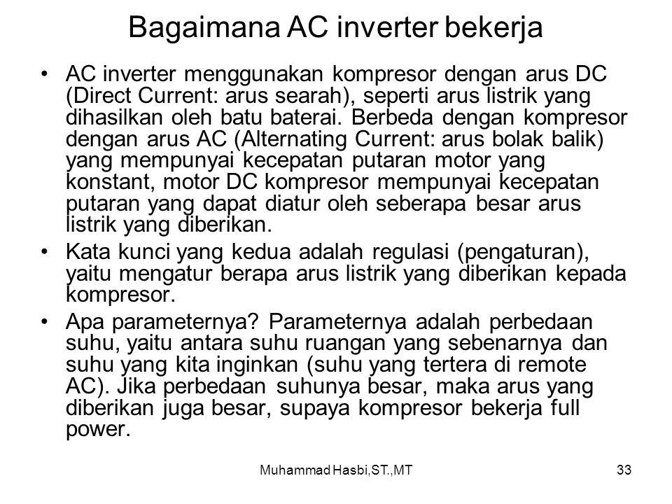 Muhammad Hasbi,ST.,MT33 Bagaimana AC inverter bekerja AC inverter menggunakan kompresor dengan arus DC (Direct Current: arus searah), seperti arus listrik yang dihasilkan oleh batu baterai.