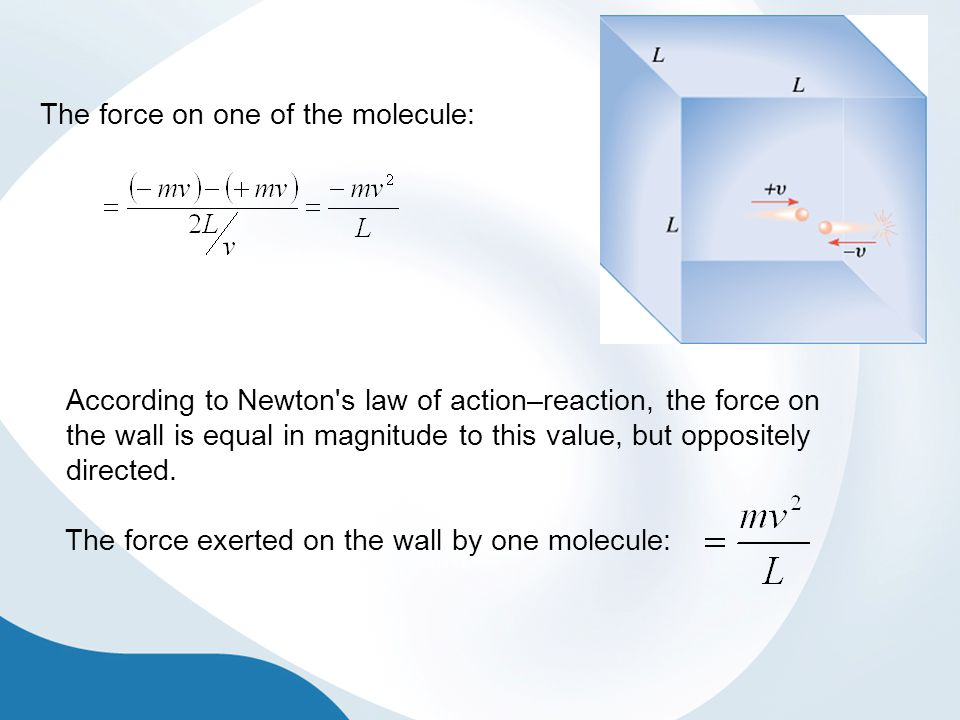 The force on one of the molecule: According to Newton's law of action–reaction, the force on the wall is equal in magnitude to this value, but opposit