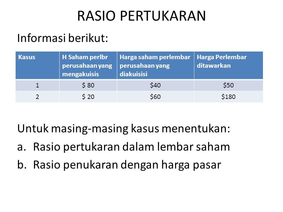 RASIO PERTUKARAN Informasi berikut: Untuk masing-masing kasus menentukan: a.Rasio pertukaran dalam lembar saham b.Rasio penukaran dengan harga pasar K