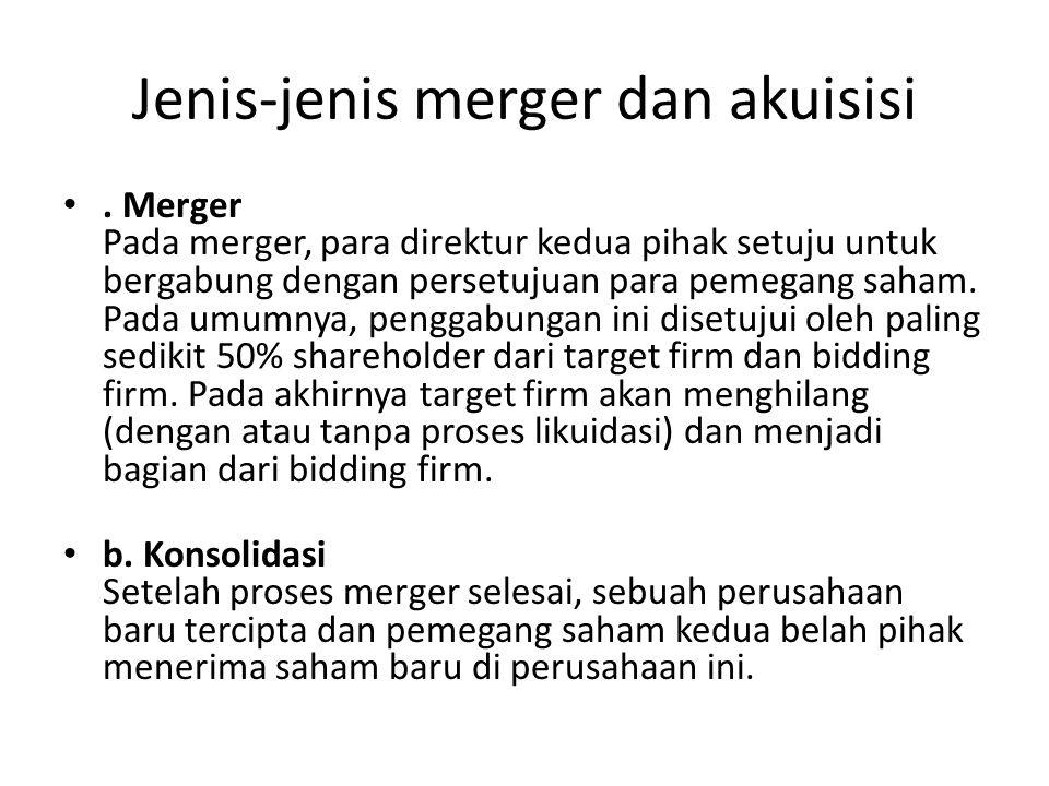 Jenis-jenis merger dan akuisisi. Merger Pada merger, para direktur kedua pihak setuju untuk bergabung dengan persetujuan para pemegang saham. Pada umu
