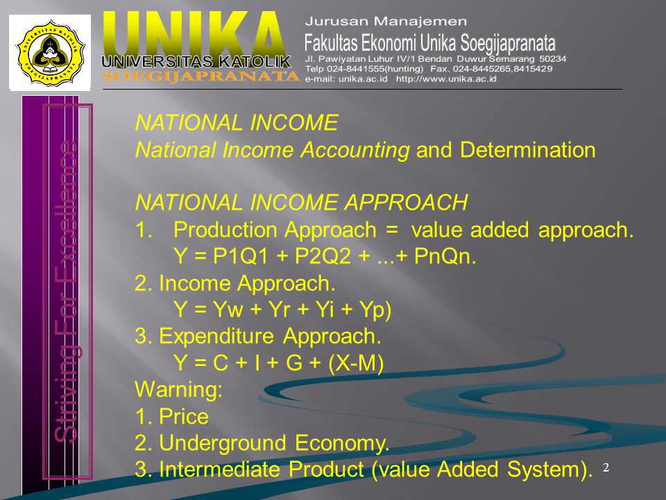 2 Striving For Excellence NATIONAL INCOME National Income Accounting and Determination NATIONAL INCOME APPROACH 1.Production Approach = value added approach.