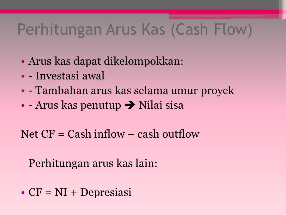 Perhitungan Arus Kas (Cash Flow) Arus kas dapat dikelompokkan: - Investasi awal - Tambahan arus kas selama umur proyek - Arus kas penutup  Nilai sisa Net CF = Cash inflow – cash outflow Perhitungan arus kas lain: CF = NI + Depresiasi