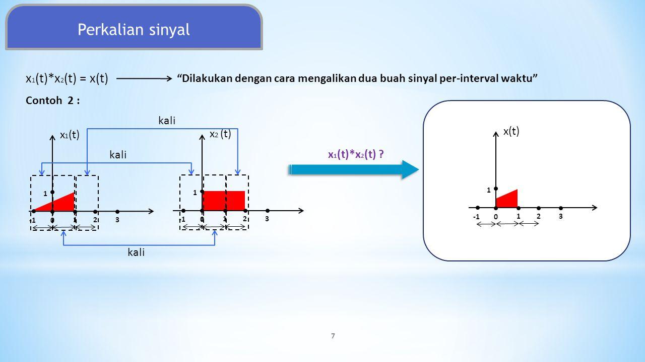 """Perkalian sinyal Contoh 2 : 7 x 1 (t) 123 1 0 x 2 (t) 123 1 0 x(t) 123 1 0 x 1 (t)*x 2 (t) ? kali x 1 (t)*x 2 (t) = x(t) """"Dilakukan dengan cara mengal"""
