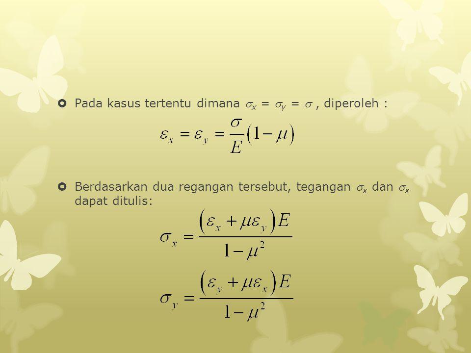  Pada kasus tertentu dimana  x =  y = , diperoleh :  Berdasarkan dua regangan tersebut, tegangan  x dan  x dapat ditulis:
