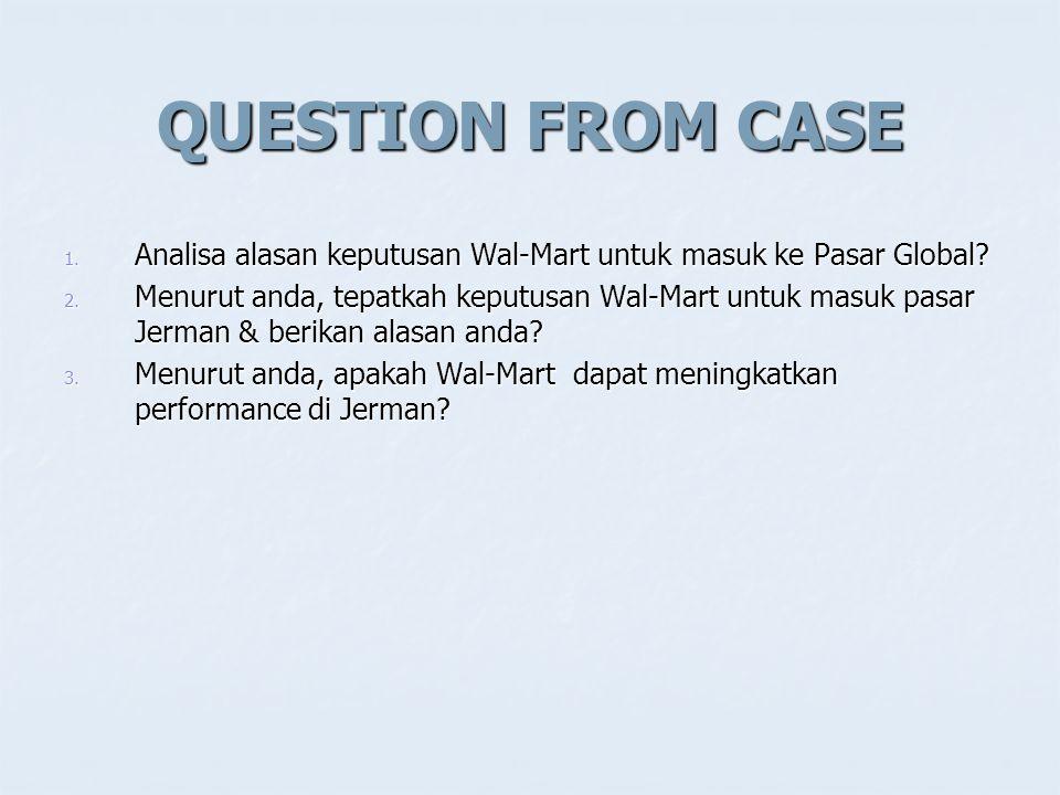 QUESTION FROM CASE 1.Analisa alasan keputusan Wal-Mart untuk masuk ke Pasar Global.