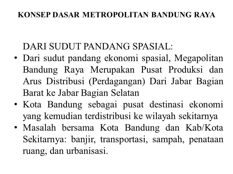 KONSEP DASAR METROPOLITAN BANDUNG RAYA DARI SUDUT PANDANG SPASIAL: Dari sudut pandang ekonomi spasial, Megapolitan Bandung Raya Merupakan Pusat Produksi dan Arus Distribusi (Perdagangan) Dari Jabar Bagian Barat ke Jabar Bagian Selatan Kota Bandung sebagai pusat destinasi ekonomi yang kemudian terdistribusi ke wilayah sekitarnya Masalah bersama Kota Bandung dan Kab/Kota Sekitarnya: banjir, transportasi, sampah, penataan ruang, dan urbanisasi.