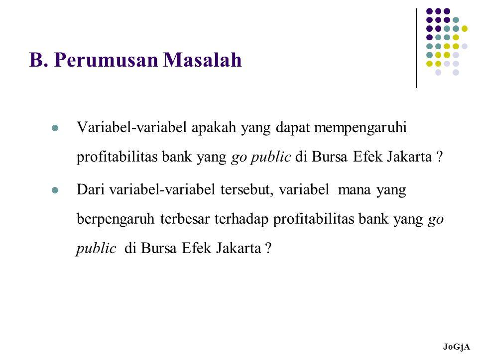 B. Perumusan Masalah Variabel-variabel apakah yang dapat mempengaruhi profitabilitas bank yang go public di Bursa Efek Jakarta ? Dari variabel-variabe