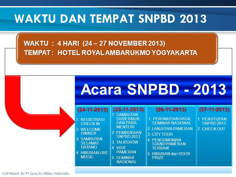 COPYRIGHT BY PT.QUALITA PRIMA PARIWARA WAKTU DAN TEMPAT SNPBD 2013 WAKTU : 4 HARI (24 – 27 NOVEMBER 2013) TEMPAT : HOTEL ROYAL AMBARUKMO YOGYAKARTA Ac