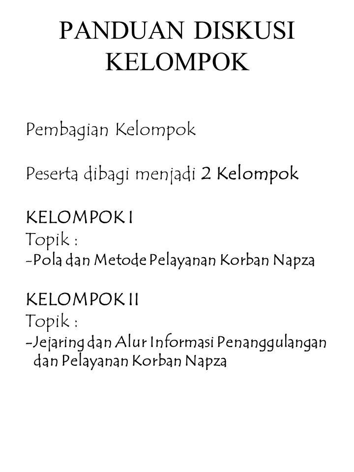 KELOMPOK 1 Zulfikri (RS Jiwa Lampung) Tuti S (Dinkes Jabar) M, Fuad (Dinkes DKI) Yunita RS (Dinkes Jateng) Suawarti (Dinkes Jatim) Andung P (RS Grhasia) Dinas Sosial DIY Bapeda DIY KPAD DIY Dinkes DIY : - AndajaniW.- Yuli Kusuma - Ririn Puspandari- Jaka S.