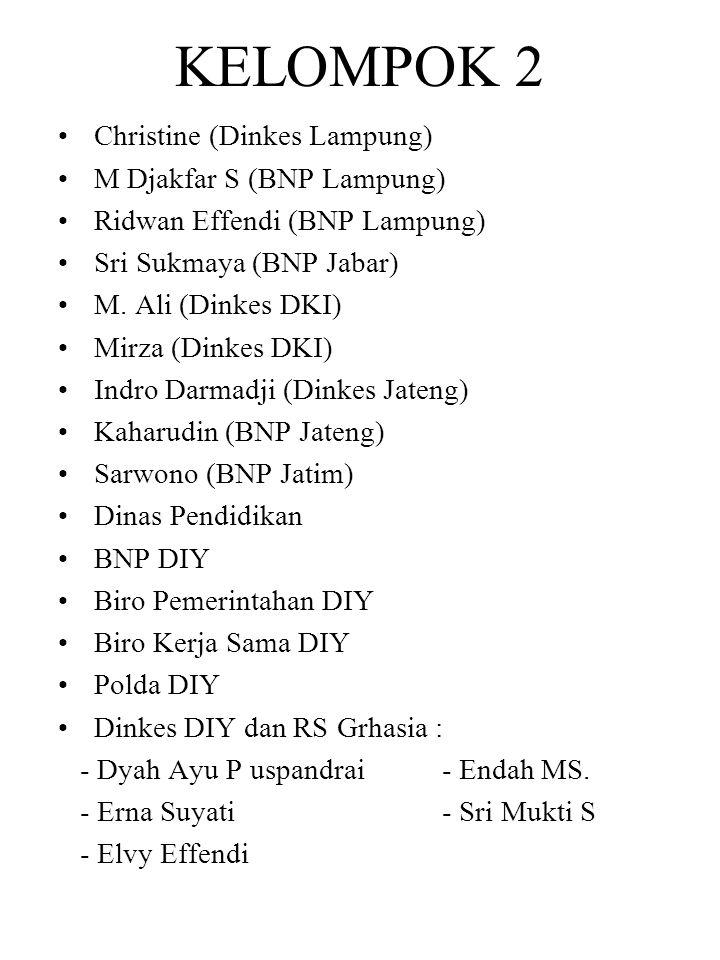 KELOMPOK 2 Christine (Dinkes Lampung) M Djakfar S (BNP Lampung) Ridwan Effendi (BNP Lampung) Sri Sukmaya (BNP Jabar) M. Ali (Dinkes DKI) Mirza (Dinkes