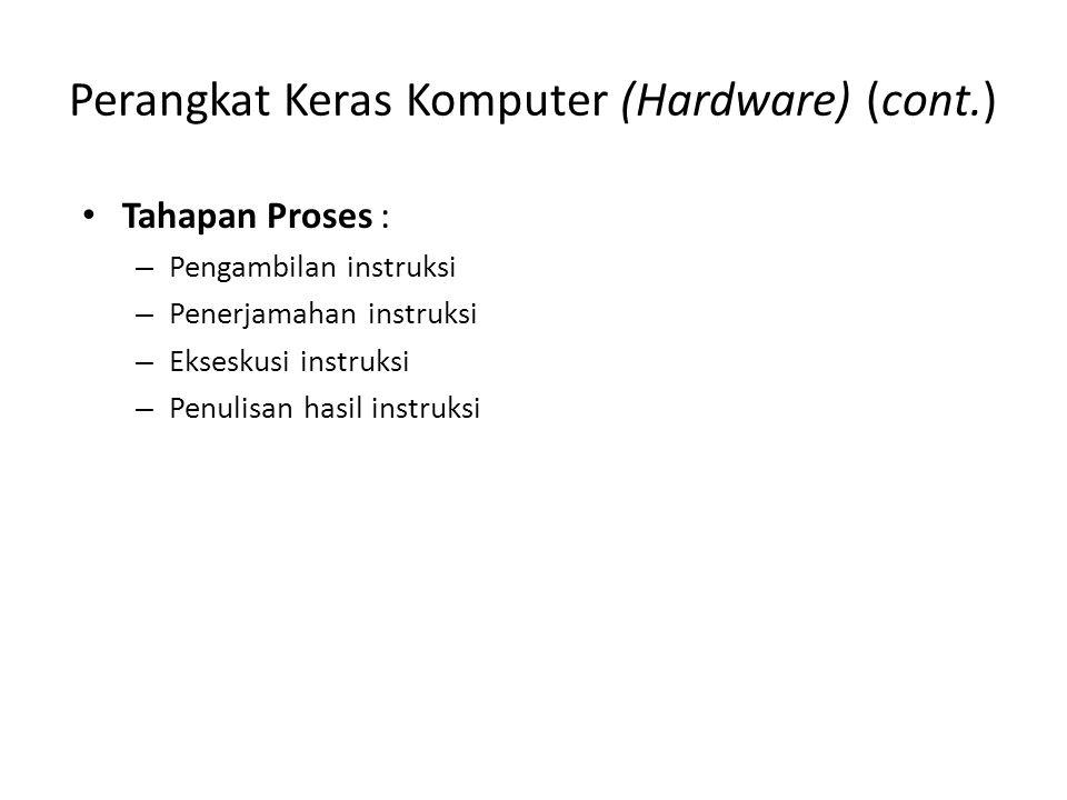 Perangkat Keras Komputer (Hardware) (cont.) Tahapan Proses : – Pengambilan instruksi – Penerjamahan instruksi – Ekseskusi instruksi – Penulisan hasil