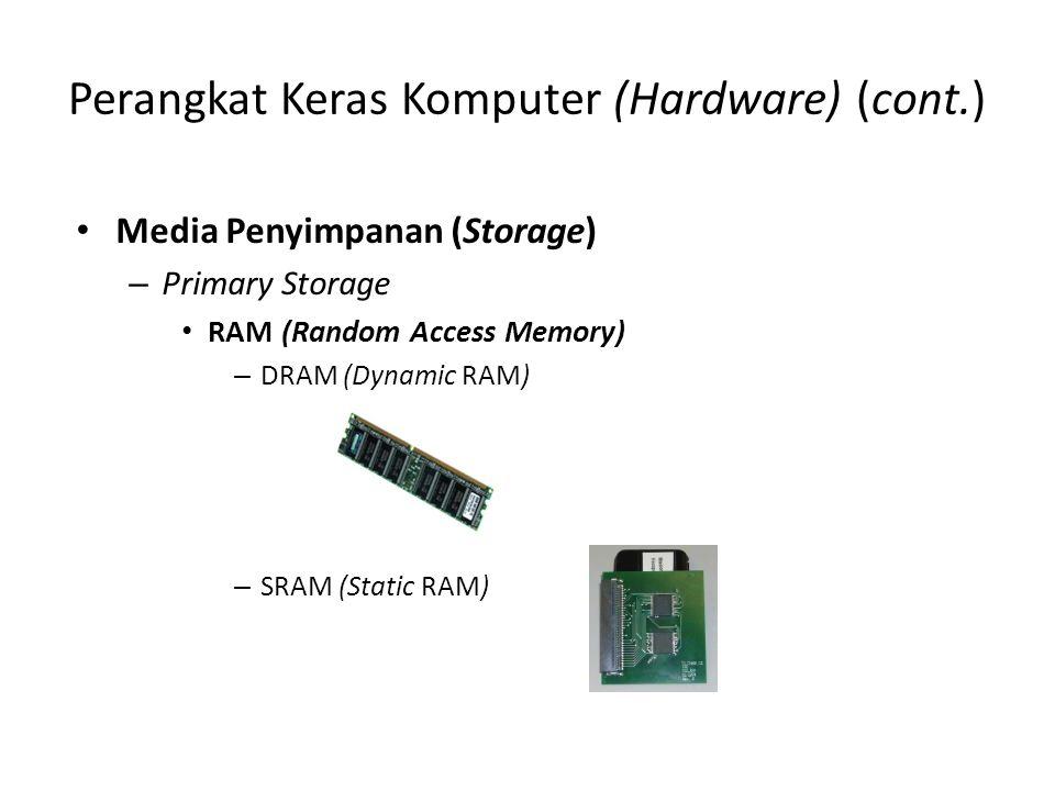 Perangkat Keras Komputer (Hardware) (cont.) Media Penyimpanan (Storage) – Primary Storage RAM (Random Access Memory) – DRAM (Dynamic RAM) – SRAM (Stat