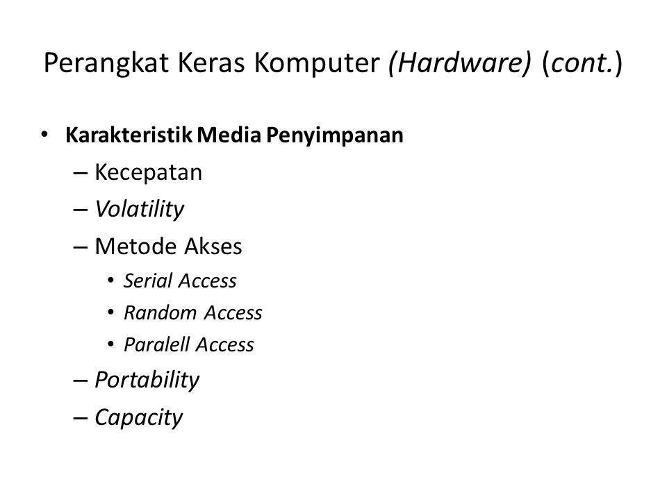 Perangkat Keras Komputer (Hardware) (cont.) Karakteristik Media Penyimpanan – Kecepatan – Volatility – Metode Akses Serial Access Random Access Parale