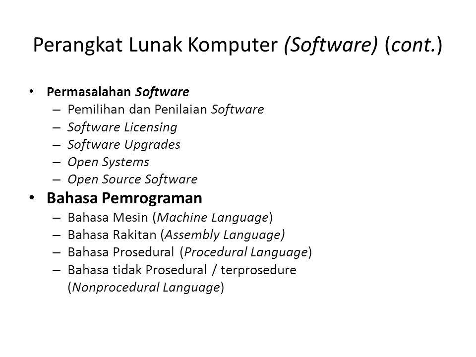Perangkat Lunak Komputer (Software) (cont.) Permasalahan Software – Pemilihan dan Penilaian Software – Software Licensing – Software Upgrades – Open S