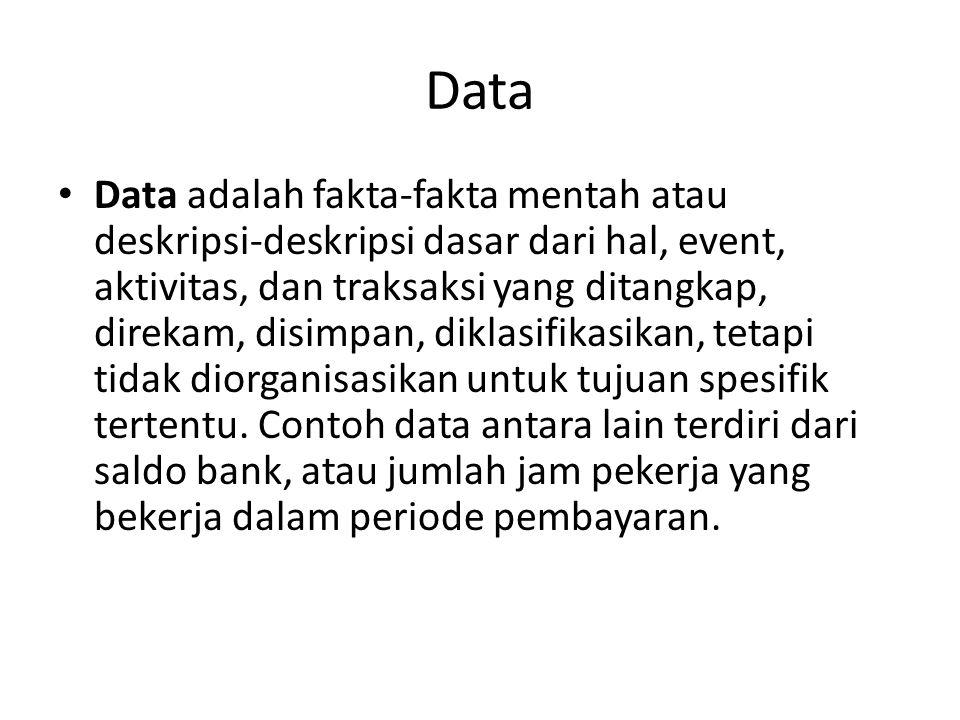 Data Data adalah fakta-fakta mentah atau deskripsi-deskripsi dasar dari hal, event, aktivitas, dan traksaksi yang ditangkap, direkam, disimpan, diklas