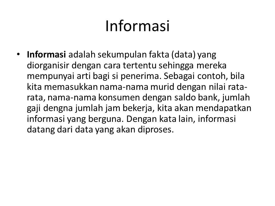 Informasi Informasi adalah sekumpulan fakta (data) yang diorganisir dengan cara tertentu sehingga mereka mempunyai arti bagi si penerima. Sebagai cont