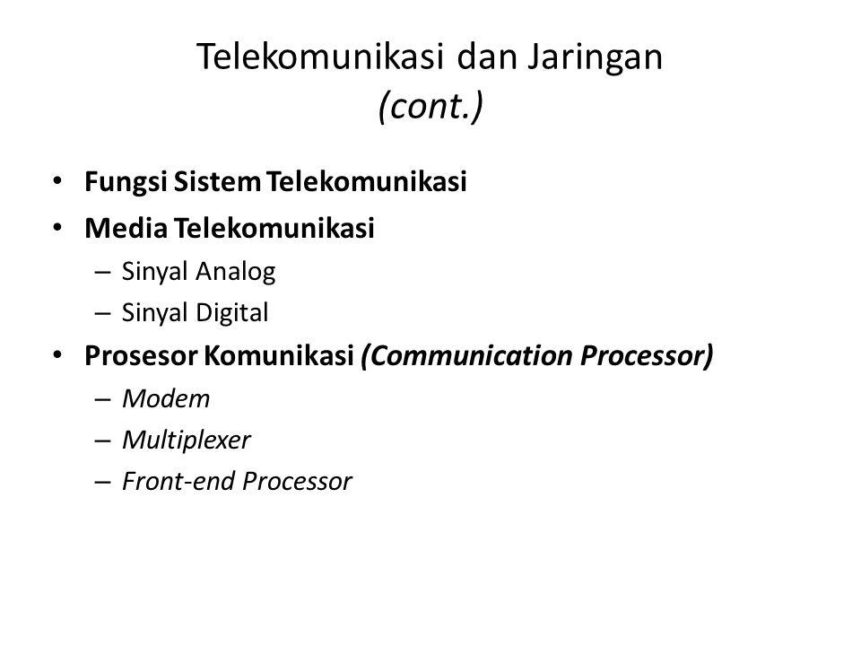 Telekomunikasi dan Jaringan (cont.) Fungsi Sistem Telekomunikasi Media Telekomunikasi – Sinyal Analog – Sinyal Digital Prosesor Komunikasi (Communicat