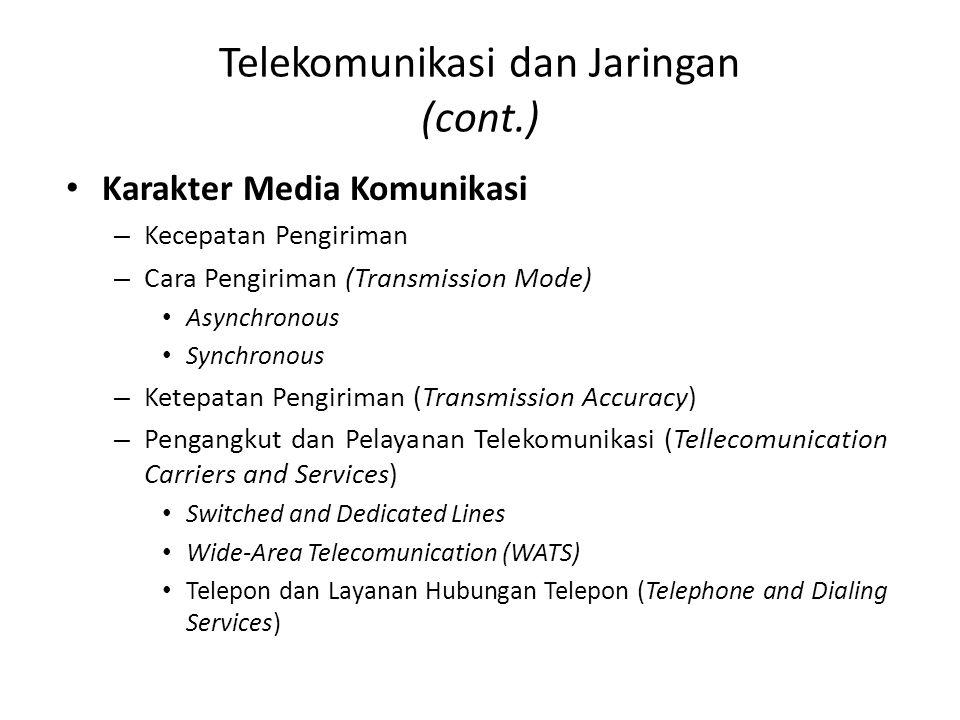 Telekomunikasi dan Jaringan (cont.) Karakter Media Komunikasi – Kecepatan Pengiriman – Cara Pengiriman (Transmission Mode) Asynchronous Synchronous –