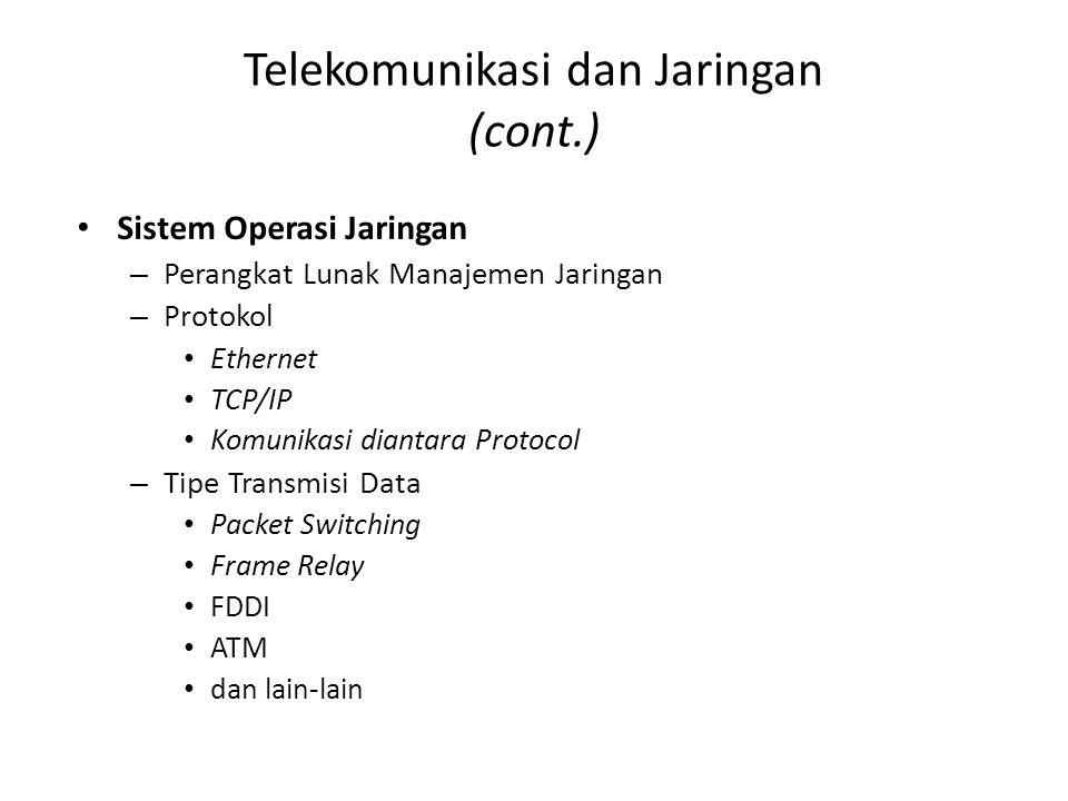 Telekomunikasi dan Jaringan (cont.) Sistem Operasi Jaringan – Perangkat Lunak Manajemen Jaringan – Protokol Ethernet TCP/IP Komunikasi diantara Protoc