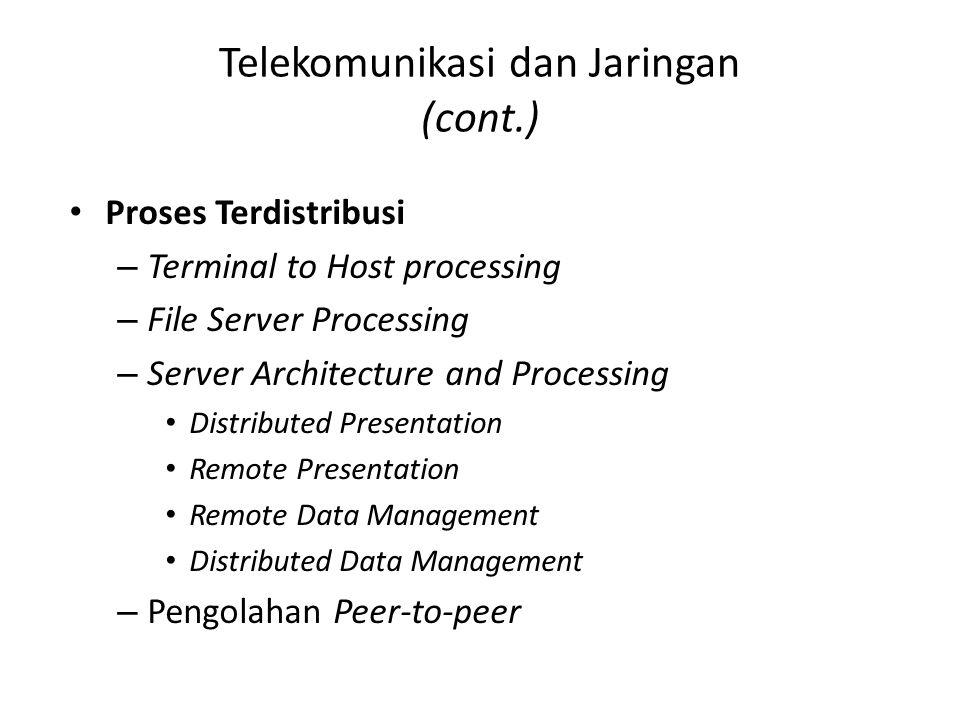 Telekomunikasi dan Jaringan (cont.) Proses Terdistribusi – Terminal to Host processing – File Server Processing – Server Architecture and Processing D