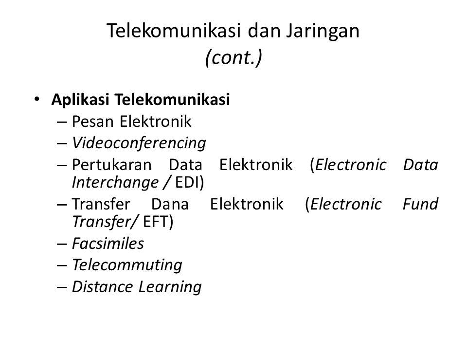 Telekomunikasi dan Jaringan (cont.) Aplikasi Telekomunikasi – Pesan Elektronik – Videoconferencing – Pertukaran Data Elektronik (Electronic Data Inter