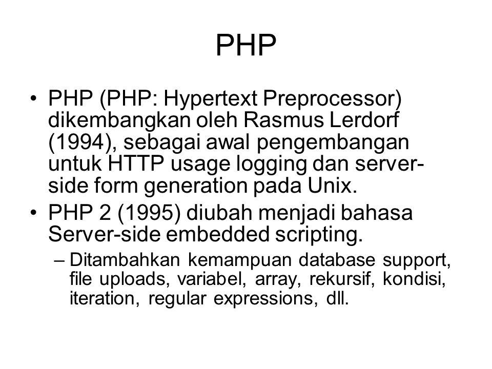 PHP PHP (PHP: Hypertext Preprocessor) dikembangkan oleh Rasmus Lerdorf (1994), sebagai awal pengembangan untuk HTTP usage logging dan server- side form generation pada Unix.