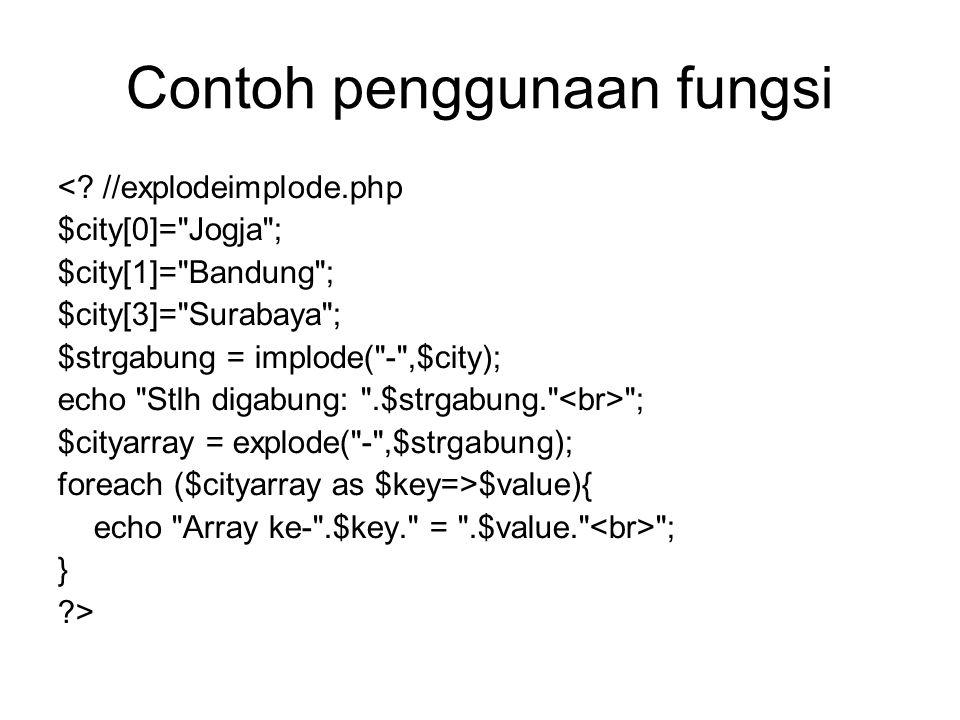 Contoh penggunaan fungsi <.