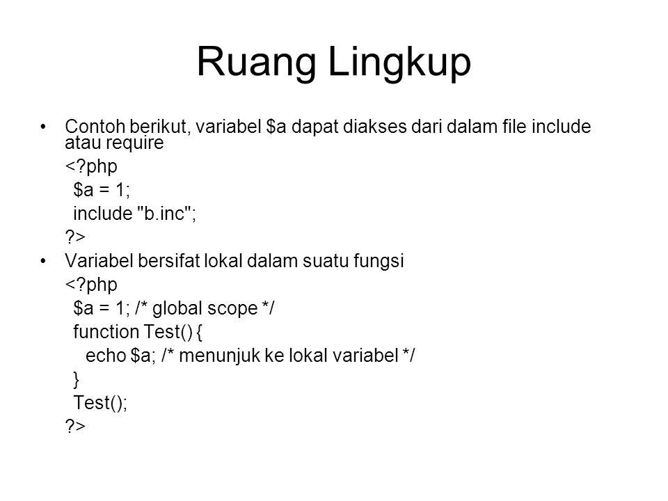 Ruang Lingkup Contoh berikut, variabel $a dapat diakses dari dalam file include atau require < php $a = 1; include b.inc ; > Variabel bersifat lokal dalam suatu fungsi < php $a = 1; /* global scope */ function Test() { echo $a; /* menunjuk ke lokal variabel */ } Test(); >
