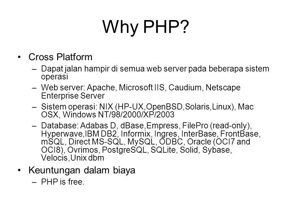 Dukungan PHP GD (GIF, JPEG, PNG) SNMP IMAP (POP, NNTP) FTP XML parser PDF generation DCOM (Win32 only) SWF (Flash) zlib (compressed IO) Charset/text conversion (UTF-8, Cyrillic, Hebrew) SOAP Cybercash ASPELL/PSPELL