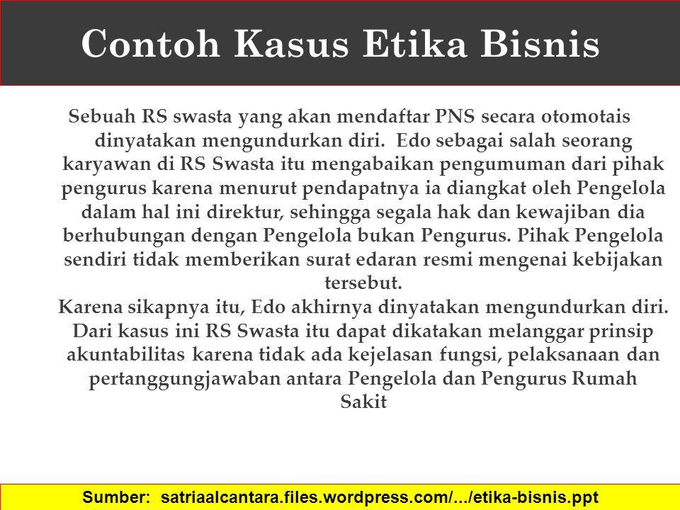 Contoh Kasus Etika Bisnis Sebuah RS swasta yang akan mendaftar PNS secara otomotais dinyatakan mengundurkan diri. Edo sebagai salah seorang karyawan d