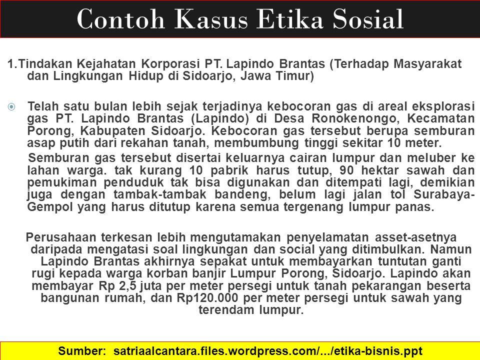 Contoh Kasus Etika Sosial 1.Tindakan Kejahatan Korporasi PT. Lapindo Brantas (Terhadap Masyarakat dan Lingkungan Hidup di Sidoarjo, Jawa Timur)  Tela