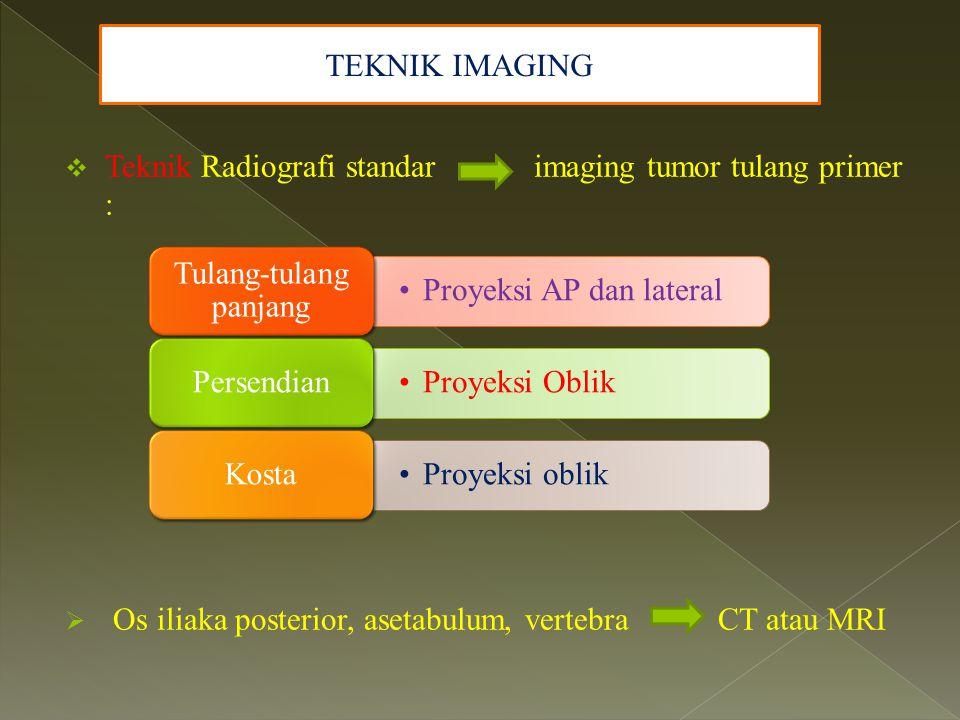  Teknik Radiografi standar imaging tumor tulang primer :  Os iliaka posterior, asetabulum, vertebra CT atau MRI TEKNIK IMAGING Proyeksi AP dan later