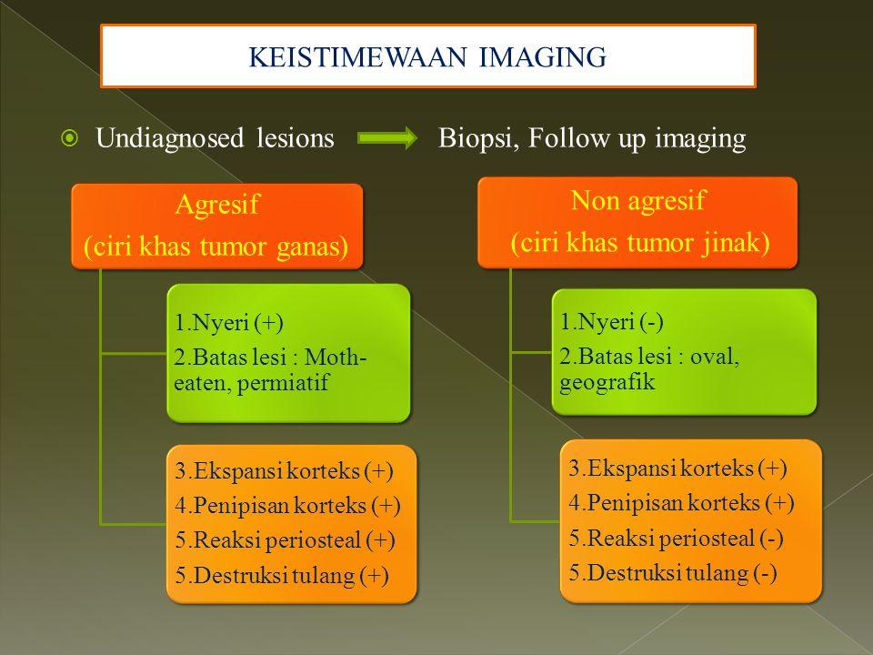 KEISTIMEWAAN IMAGING  Undiagnosed lesions Biopsi, Follow up imaging Agresif (ciri khas tumor ganas) 1.Nyeri (+) 2.Batas lesi : Moth- eaten, permiatif