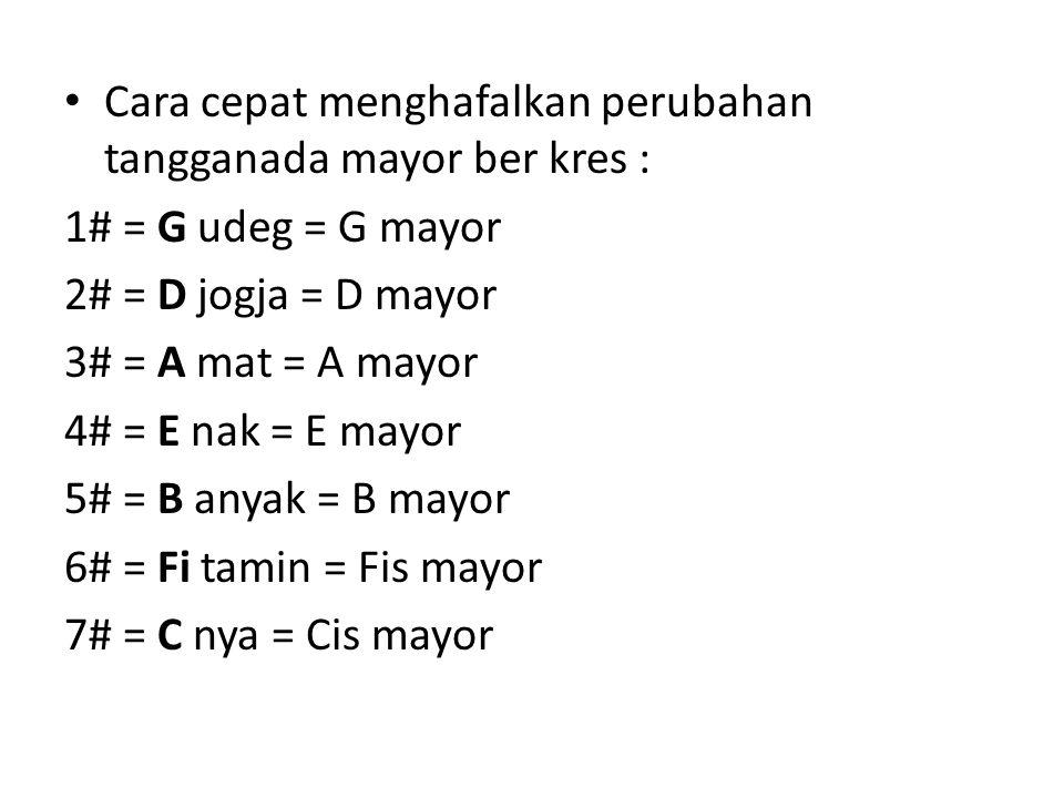 Cara cepat menghafalkan perubahan tangganada mayor ber kres : 1# = G udeg = G mayor 2# = D jogja = D mayor 3# = A mat = A mayor 4# = E nak = E mayor 5