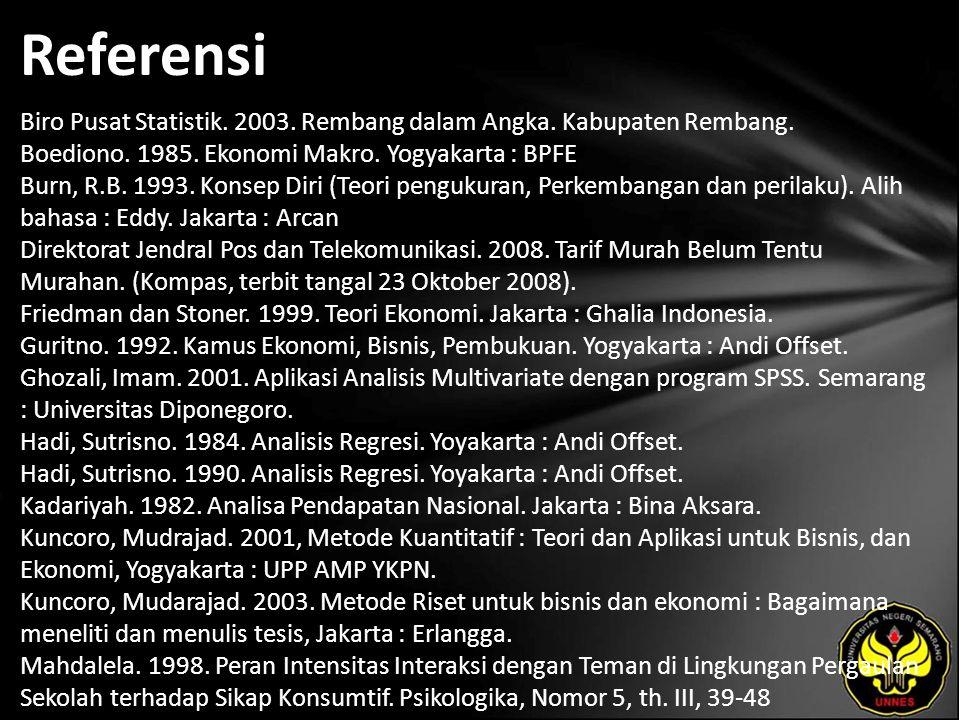 Referensi Biro Pusat Statistik. 2003. Rembang dalam Angka.