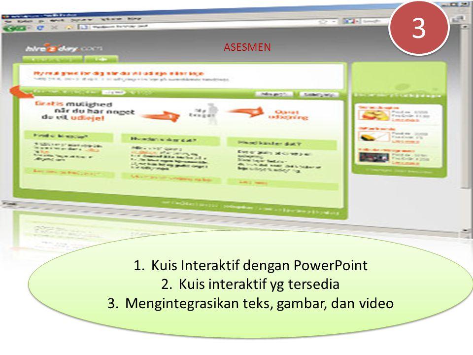 1.Kuis Interaktif dengan PowerPoint 2.Kuis interaktif yg tersedia 3.Mengintegrasikan teks, gambar, dan video 1.Kuis Interaktif dengan PowerPoint 2.Kui