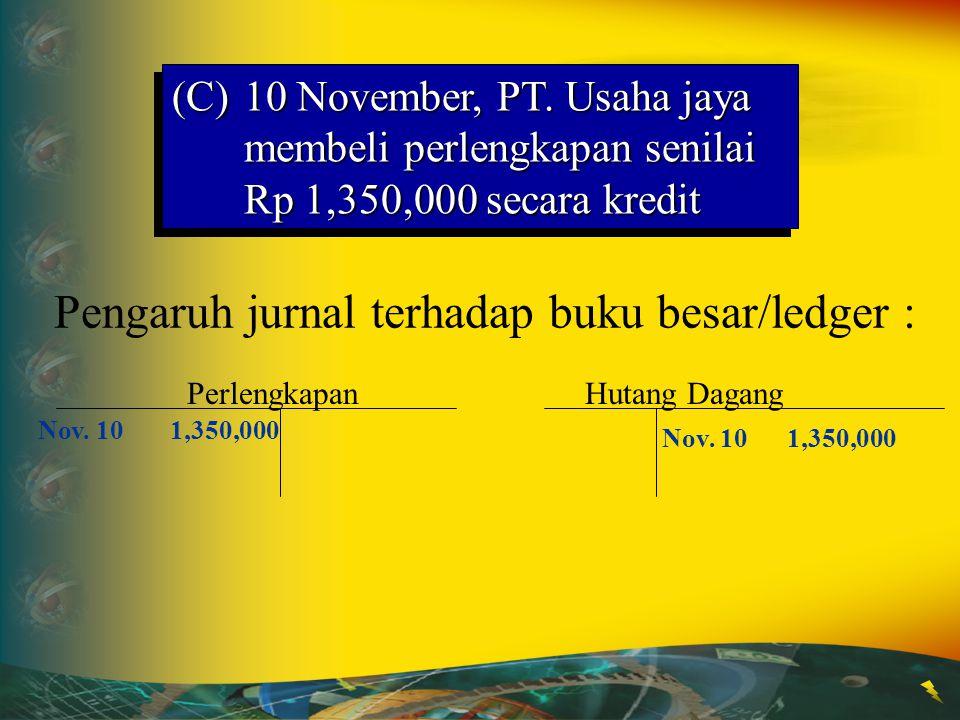 10 11 12 13 14 15 16 10Perlengkapan1 350 000 Hutang Dagang1 350 000 (Pembelian perlengkapan secara kredit) (C)10 November, PT. Usaha jaya membeli perl