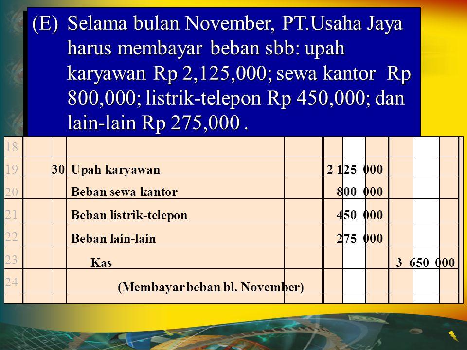 Kas Nov. 1 25,000,000Nov. 5 25,000,000 Pendapatan Jasa Nov. 18 7,500,000 18 7,500,000 (D)18 November, PT.Usaha Jaya menerima pendapatan atas jasa yg t