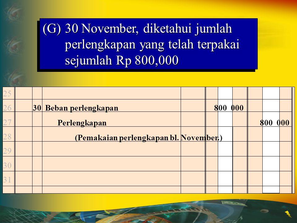 Kas Nov. 1 25,000,000Nov. 5 25,000,000 18 7,500,000 30 3,650,000 Hutang Dagang Nov. 10 1,350,000Nov. 30 950,000 30 950,000 (F)30 November, membayar ke