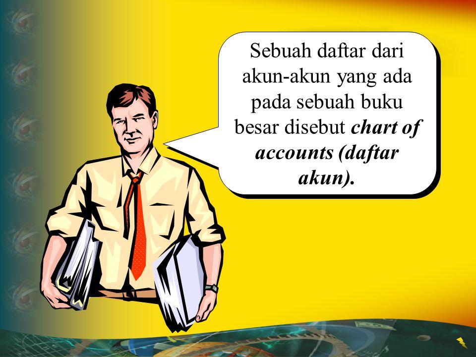 Kumpulan dari akun- akun dari suatu perusahaan disebut ledger(buku besar). Kumpulan dari akun- akun dari suatu perusahaan disebut ledger(buku besar).