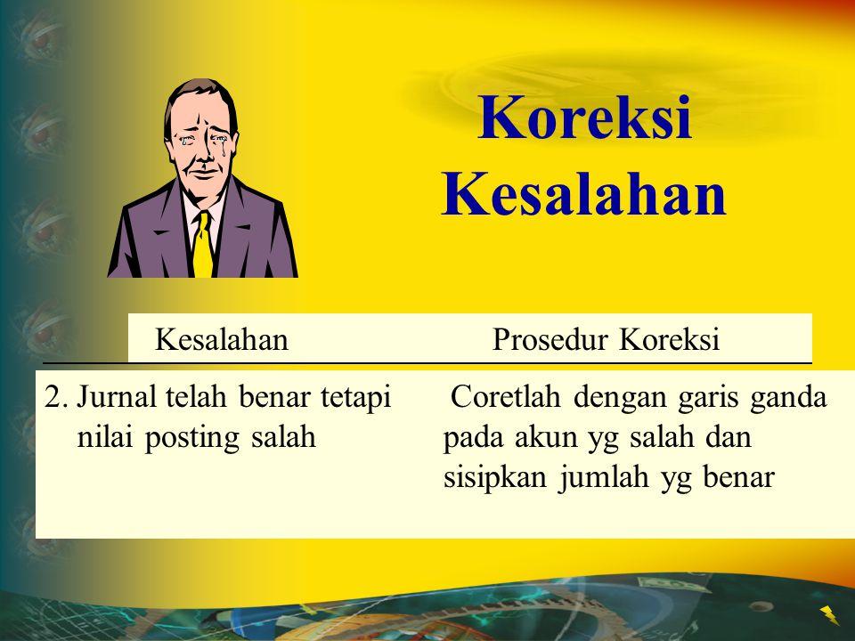 Error Correction Procedure 1.Kesalahan saat Jurnal Coretlah dengan garis ganda tetapi tidak dipostingpada jumlah yg salah dan sisipkan jumlah yg benar