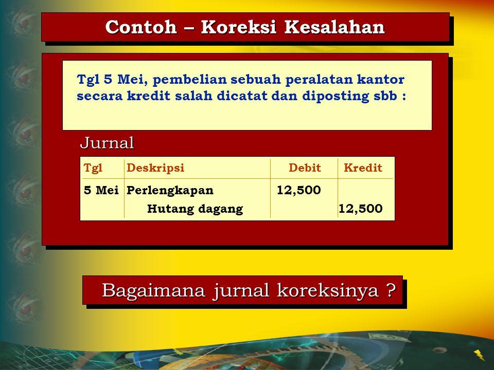 3.Jurnal salah danLakukan jurnal koreksi posting terlanjur beserta postingnya dilakukan Koreksi Kesalahan Kesalahan Prosedur Koreksi