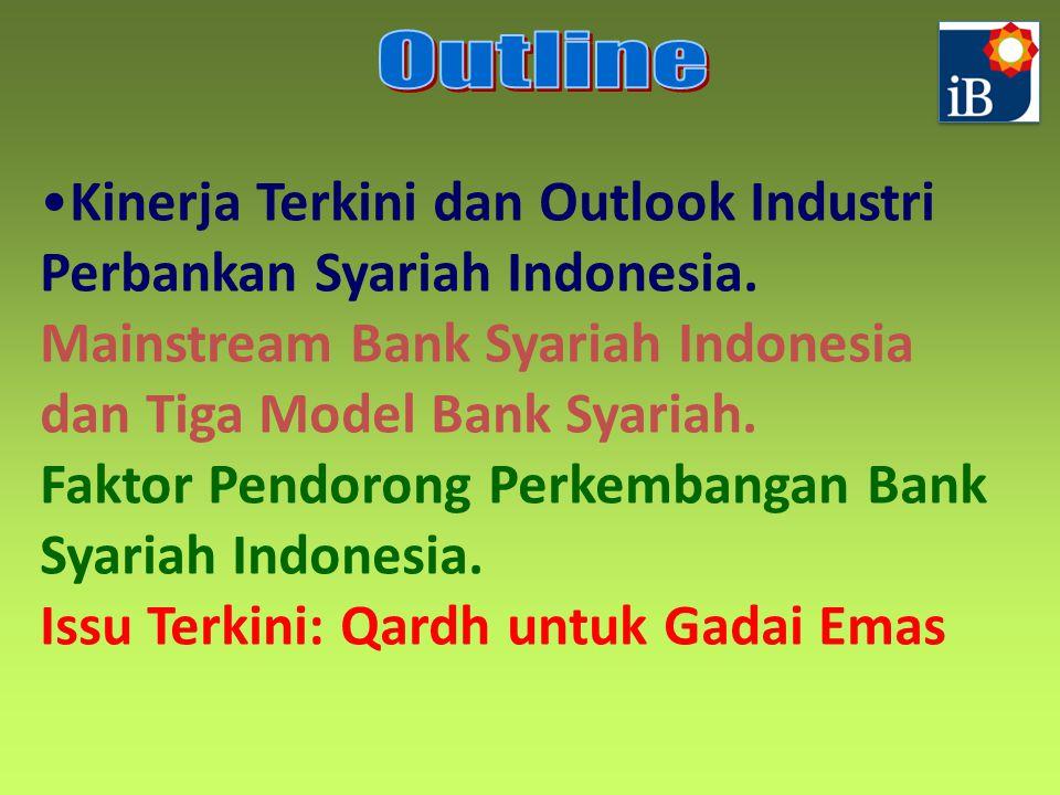 Kinerja Terkini dan Outlook Industri Perbankan Syariah Indonesia. Mainstream Bank Syariah Indonesia dan Tiga Model Bank Syariah. Faktor Pendorong Perk