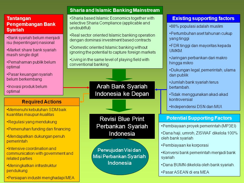 Sharia and Islamic Banking Mainstream Sharia based Islamic Economics together with selective Sharia Compliance (applicable and undoubtful) Real sector oriented Islamic banking operation dengan dominasi investment based contracts Domestic oriented Islamic banking without ignoring the potential to capture foreign markets Living in the same level of playing field with conventional banking.