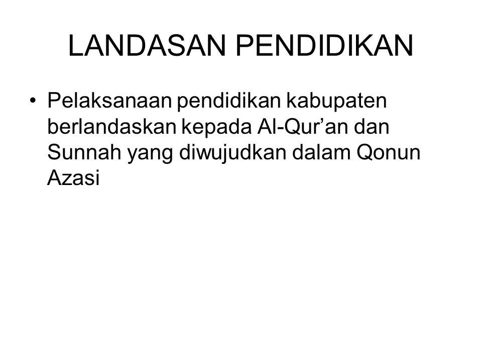 LANDASAN PENDIDIKAN Pelaksanaan pendidikan kabupaten berlandaskan kepada Al-Qur'an dan Sunnah yang diwujudkan dalam Qonun Azasi