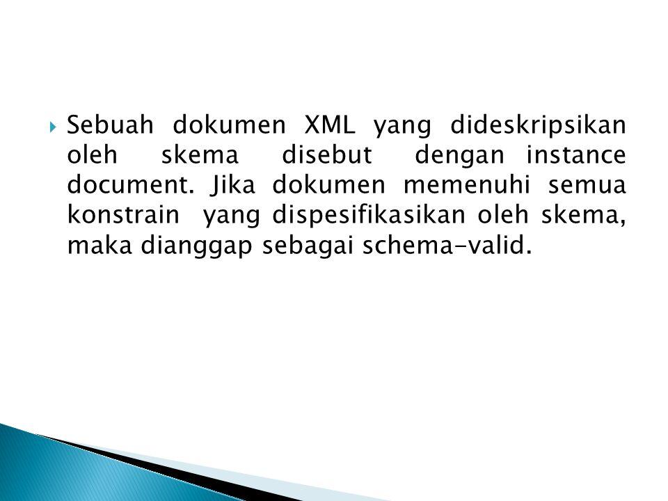  Sebuah dokumen XML yang dideskripsikan oleh skema disebut dengan instance document.