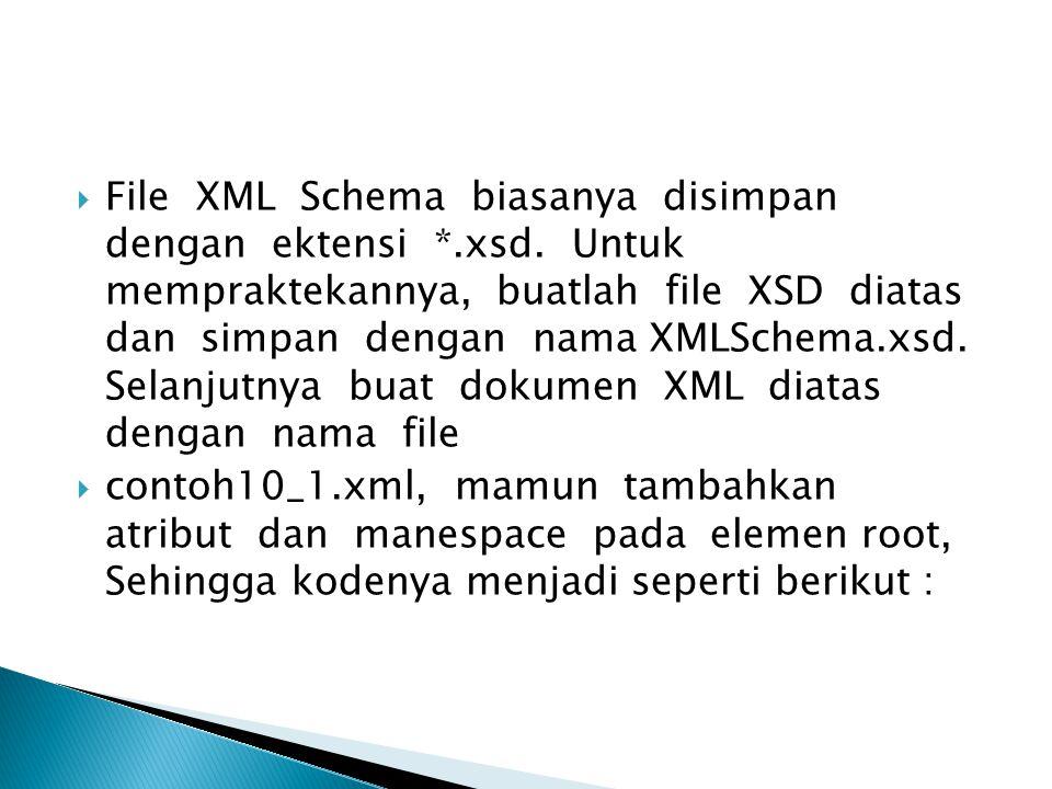  File XML Schema biasanya disimpan dengan ektensi *.xsd.